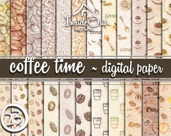 Сoffee Beans Digital Craft Paper Brown Pack Printable Hot drink Cream Cafe burlap background Invites Cards Scrapbook making cups mugs biege