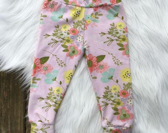 CLOSEOUT! Spring Leggings! Floral Leggings! Flower Leggings! Pink Leggings! Baby Leggings!