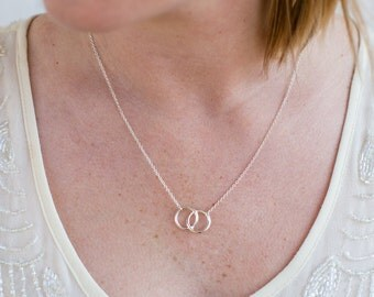Infinity Double Circles Necklace. Interlocking Circles Pendant Necklace. Infinity Necklace. Gold Infinity. Silver Infinity. Charm Necklace