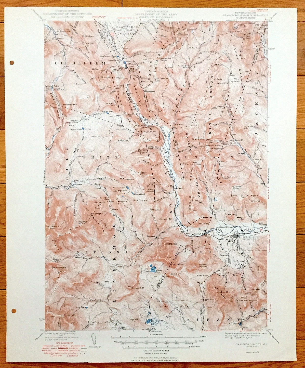 Antique Crawford Notch New Hampshire 1950 US Geological