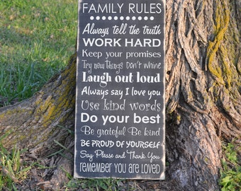 Family Rules Wood sign vinyl decal wood sign
