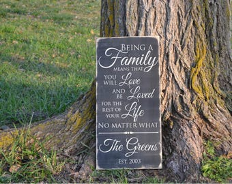 Being a Family Means That You Will Love and be Loved for the Rest of Your Life No Matter What Family Name Est Year Wood Sign Vinyl Decal