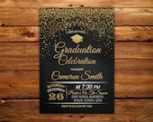 Graduation Celebration Invitation. Chalkboard Graduation Invitation. Confetti Graduation Party Invitation. Black, White & Gold Invitation.