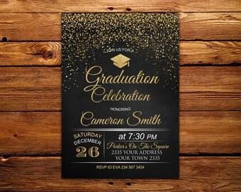 Graduation Celebration Invitation. Chalkboard Graduation Invitation. Confetti Graduation Party Invitation. Black, White & Gold Invitation.