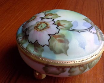 "Nippon hand-painted footed trinket box - 4"" diam. 2.5"" tall"