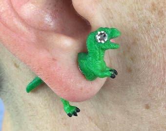 Trex Earrings, Faux Plugs, Fake Gauges, Swarovski Earrings, Trex Jewelry, Trex, Dinosaur Gift, Dinosaur Earrings, Dinosaur Birthday Gift