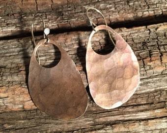 Organic Copper Disc Earrings