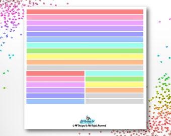 Transparent Rainbow Highlighter Bar Planner Stickers   Erin Condren, Happy Planner, Plum Paper Planner   Set of 23