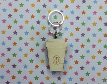 Coffee To Go - wooden stitch marker - knitting notions - charm