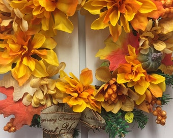 Wreath for door Harvest fall wreath  1009  hand made
