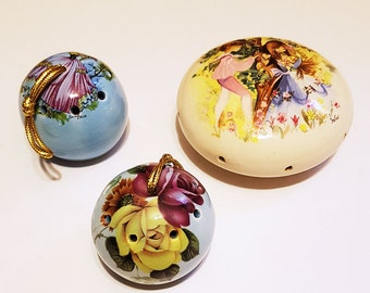Set of 3 Sealed Vintage Ceramic Pomanders
