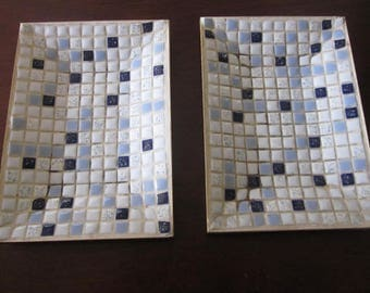 1950's Set of 2 Mid Century Modern Tile Ashtrays   NICE!!!!!