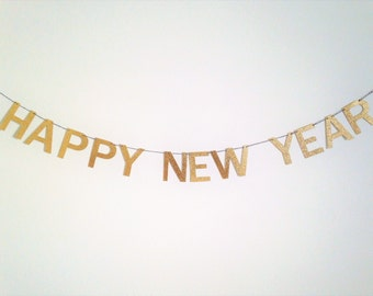 Happy New Year Banner, New Years Garland, New Years Decor, Gold New Years Banner