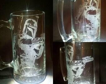 Boba Fett Star Wars Etch Engraved  25oz Beer Mug 16oz 23oz Drinking Glass with optional Bounty Hunter Logo or Personalized