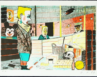 Art from the GDR. Untitled, 1984. Lithograph by Volker PFUELLER