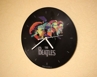 The Beatles vinyl record wall clock, Gift for Beatles fan, Music vinyl record wall clock