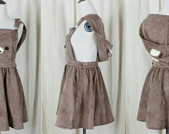 Teddy kawaii lolita dress/ dungaree skirt with hood