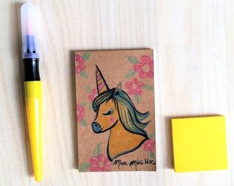 "Mini notebook illustrated handmade ""Unicorn"""