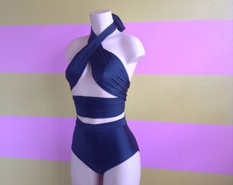 Multi-Way Wrap Halter w/ High Waisted Bottoms