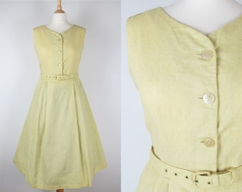 "50s Vintage St Michaels Pastel Yellow Full Skirt Cotton Sun Dress with Original Belt- Medium 28"" waist"