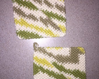 green & yellow double sided crochet pot holders / hot pad