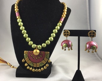 Terracotta Necklace Set - Green, Gold and Maroon