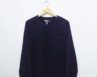 Hot Sale!!! Rare Vintage 90s POLO RALPH LAUREN Small Pony Crewneck Pullover Sweatshirt Hip Hop Swag Large Size