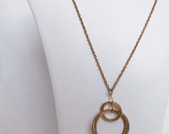 Gold Circular Pendant Attachable Necklace