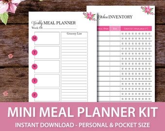 Meal Planner Inserts, Weekly Meal Planner Calendar, Weekly Menu Planner with Grocery List, Pocket Size Planner Insert, Personal Size Planner