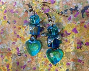 blue heart earrings/ sweetheart earrings/ valentine gift for her/heart earrings/blue crystal earrings
