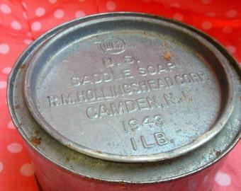 Vintage R. M. Hollingshead Soap Saddlesoap Tin 1943