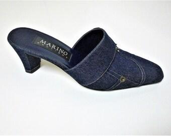 Designer 1980's Denim Leather Sole Mules - Size 7M