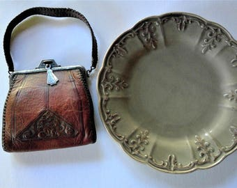 Meeker Made Hand Tooled Leather Purse - 1920's
