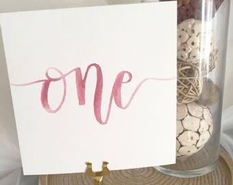 Calligraphy Wedding Table Numbers ~ Watercolor Table Numbers ~ Watercolor Wedding Calligraphy ~ Modern Calligraphy ~ Wedding Calligraphy