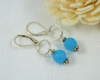 SALE Blue Quartz Gemstone Sterling Silver Earrings