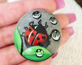 Hand Painted Stone / Ladybird Stone / Natural Stone Art / Garden Decor