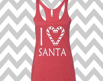 I Love Santa Tank Top Flowy Racerback Tank Top Ugly Christmas Tank Top Funny Holiday Party Tank Ugly Christmas Funny Elf Tank Top