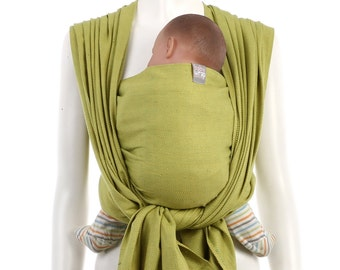SALE 15% OFF Woven Baby Wrap - Gold-Green Baby Wrap - Baby Carrier - Woven Wrap Baby Carrier