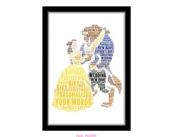 PERSONALISED Belle From Beauty and the Beast Word Art Wall Print Gift Idea Decor Birthday For Her Daughter Mum Nan Engagement Wedding Couple