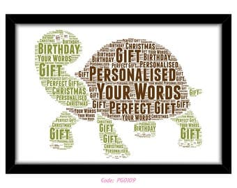 PERSONALISED Cute Tortoise Word Art Print Gift Idea Birthday Present Wall Art Home Decor Print Turtle Animals Nursery Kids Bedroom New Baby