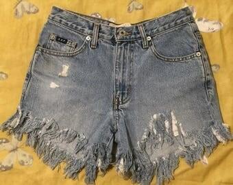 Vintage High-Waisted Denim Shorts, Vintage Clothing, 90s Clothing, 80s Clothing, High Waisted Mom Shorts, Festival Clothes