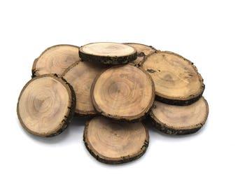 Rondelles de bois pour décoration en bois d'olivier Ø55/60mm - Ø70/80mm biologique non traité, non vernis Par lot de 5 unités