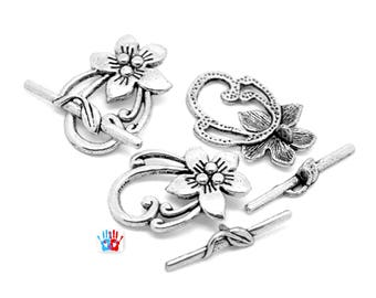x 10 serious flower silver antique 30mm toggle clasps