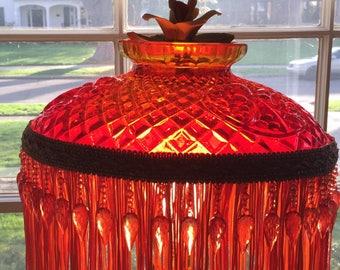 Orange glass brass lamp