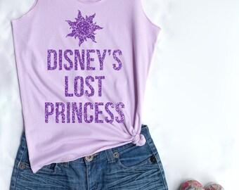 Purple Glitter Disney's Lost Princess. Disney theme. Disney tank. Disney princess. Tank top. Clothing. Disney tank top. Disney shirt