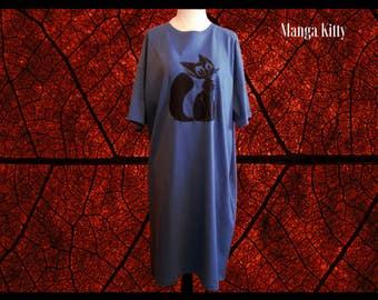 Kawaii Night Shirt, Women's Night Shirt, Cat Night Shirt, Night Gown, Lounge Wear, Pajama Top, Cat Pajamas, Women's Sleepwear, Cat Sleepwear