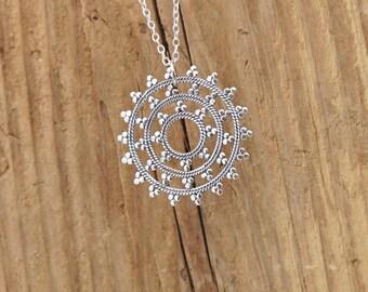 Sterling Silver Snowflake Mandala Yoga Charm Pendant Necklace Spiritual