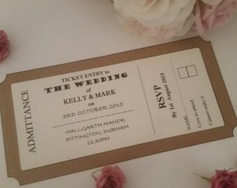 Ticket wedding invitations, wedding invites, ticket style invitations, rsvp, wedding day invites, rustic wedding, shabby chic wedding