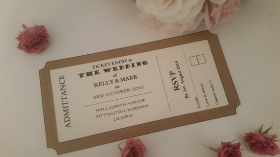 Ticket Wedding Invitations Wedding Invites Ticket Style