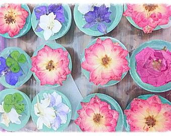 4 Mini Real Flower Lavender Soaps